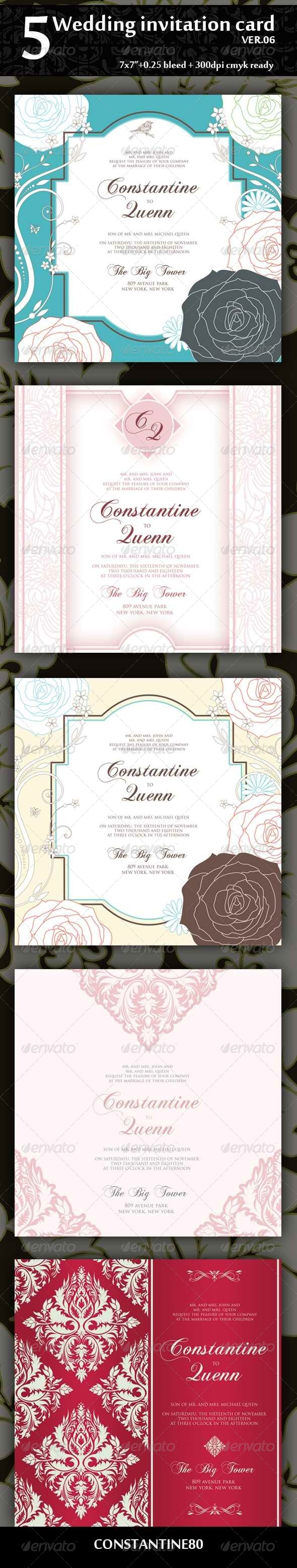 GraphicRiver 5 Wedding Invitation Card Ver06 4318563