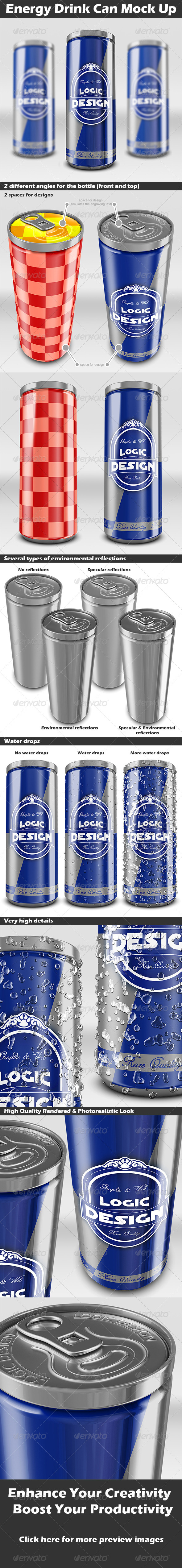 GraphicRiver Energy Drink Can Mock Up 4318718