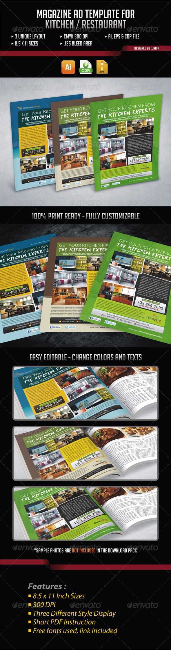 GraphicRiver Magazine Ad Template for Kitchen Restaurant 4319106