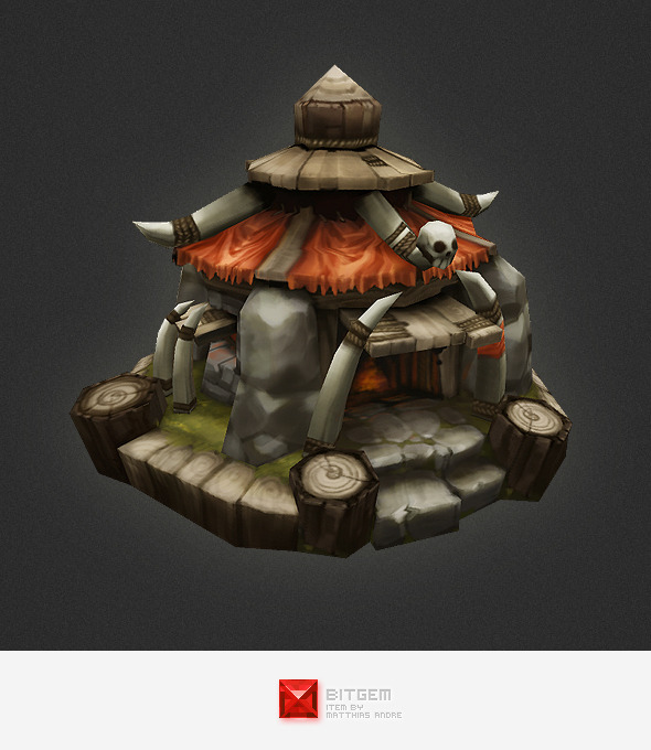 Low Poly RTS Orc Hut - 3DOcean Item for Sale