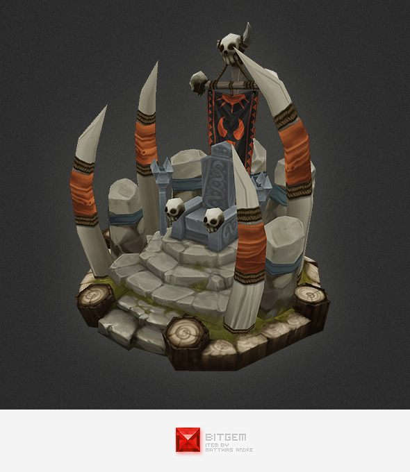 Low Poly RTS Orc Throne - 3DOcean Item for Sale