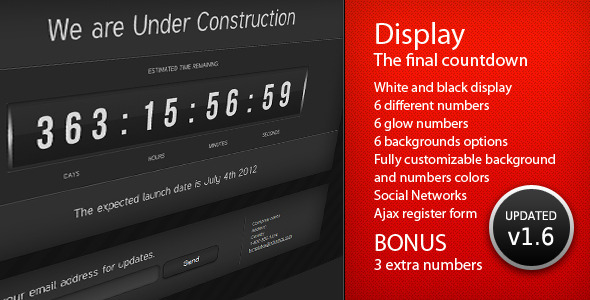 Display - The Final Countdown - Under Construction Specialty Pages