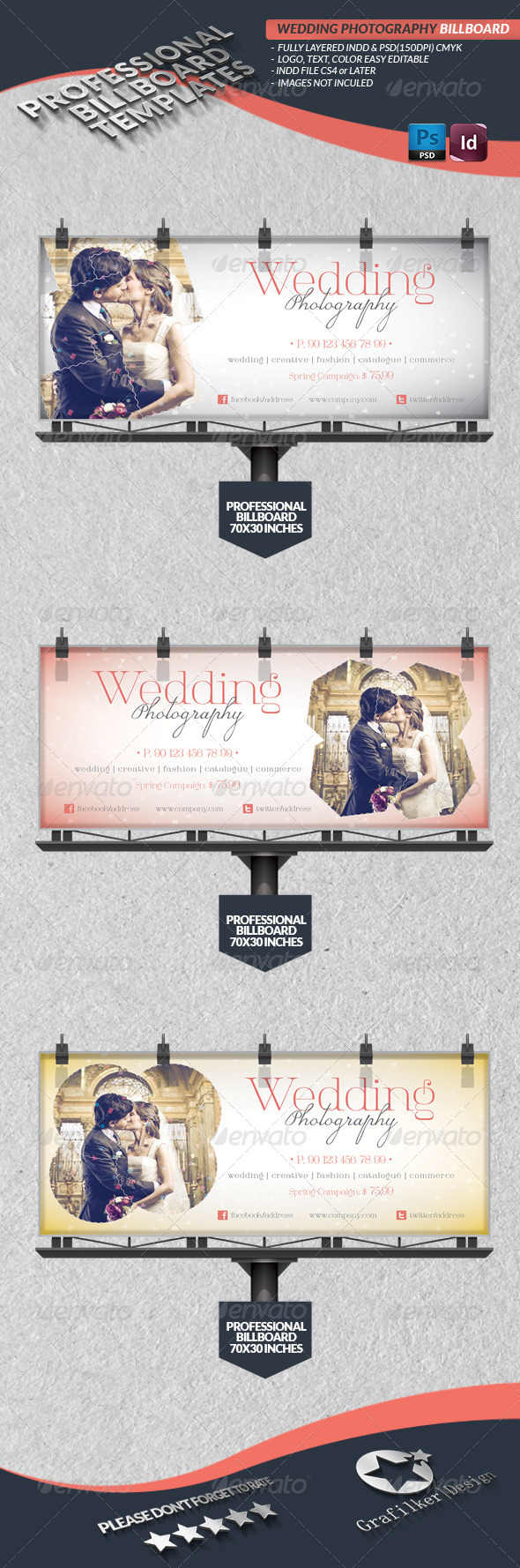 GraphicRiver Wedding Photography Billboard Template 4320914
