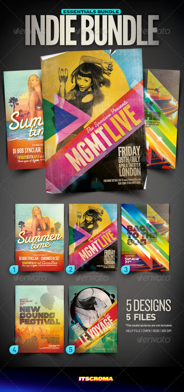 GraphicRiver Indie Flyer Vintage Bundle 003 4321404