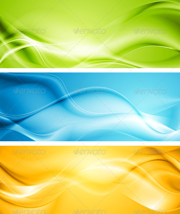GraphicRiver Elegant Smooth Waves Vector Banners 4321557