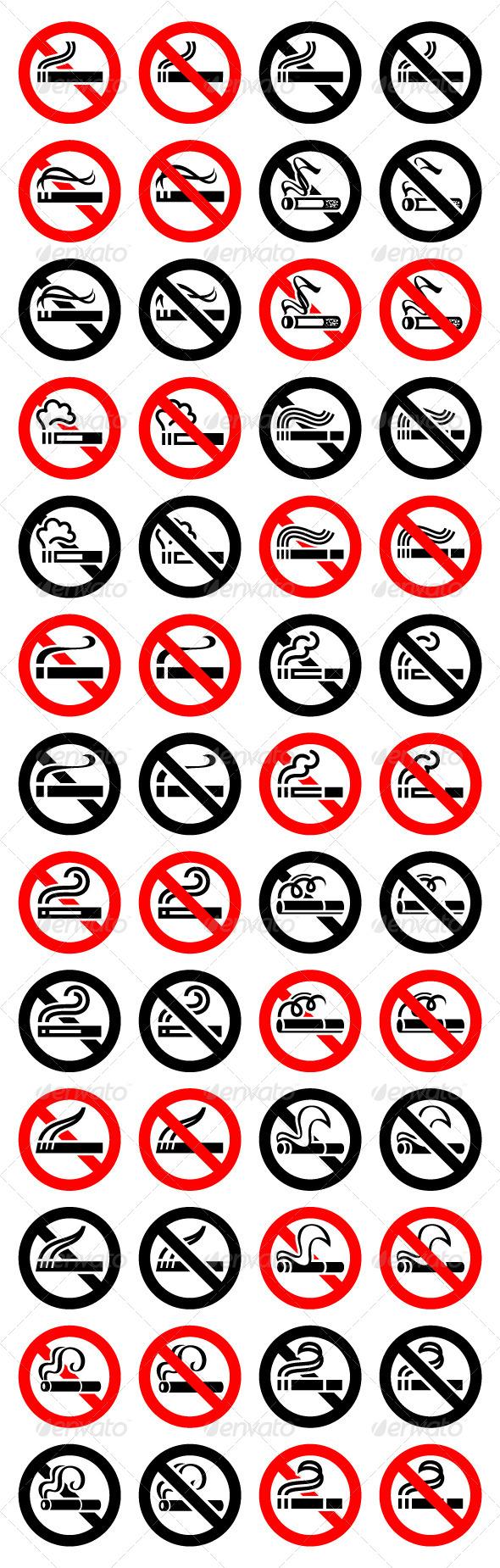 GraphicRiver 52 Round Signs 13 Cigarette Symbols 4321772