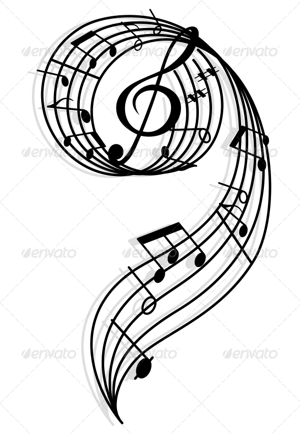 GraphicRiver Musical Curly Elements with Clef and Notes 4322527