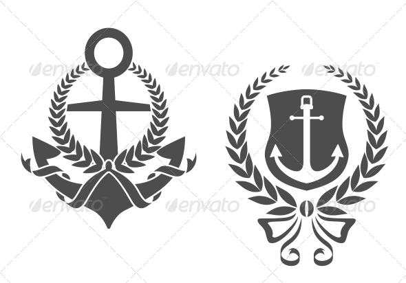 Marine Anchors with Ribbons and Laurel Wreathes - Decorative Symbols Decorative