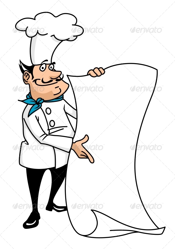 Cartoon Smiling Chef with Menu - People Characters