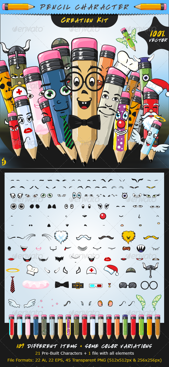 Pencil Character Creation Kit - Characters Vectors