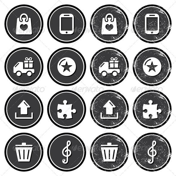 GraphicRiver Web Navigation Icons on Retro Labels Set 4323929