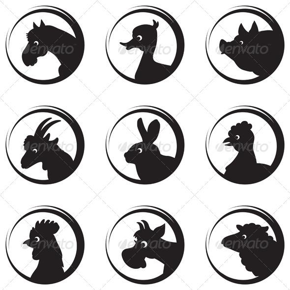 GraphicRiver Farm Animals Silhouette Icon Set 4323930