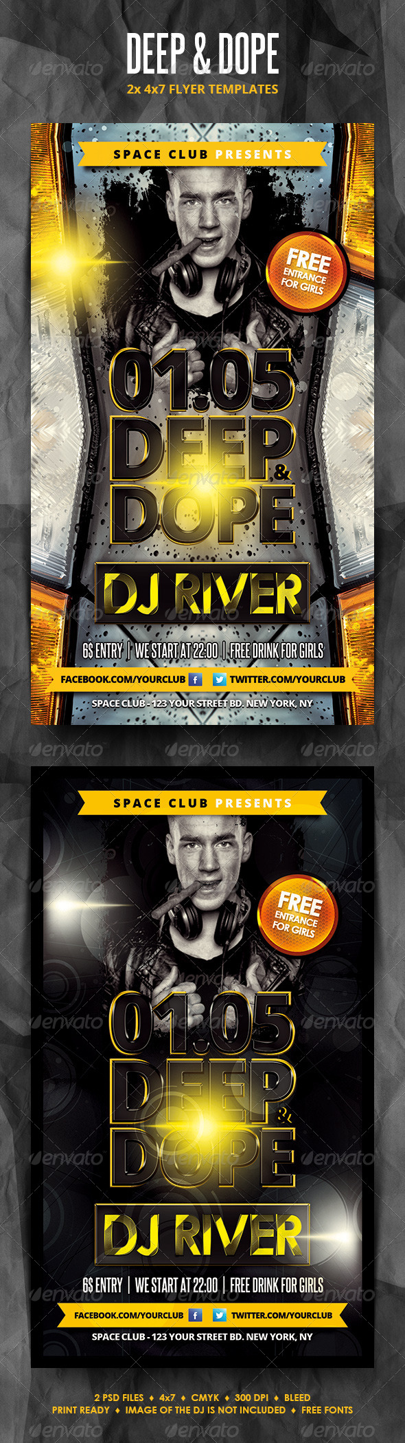GraphicRiver Deep and Dope Party Flyers 4324256