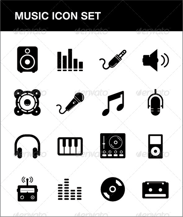 GraphicRiver Music Icon set 4324699