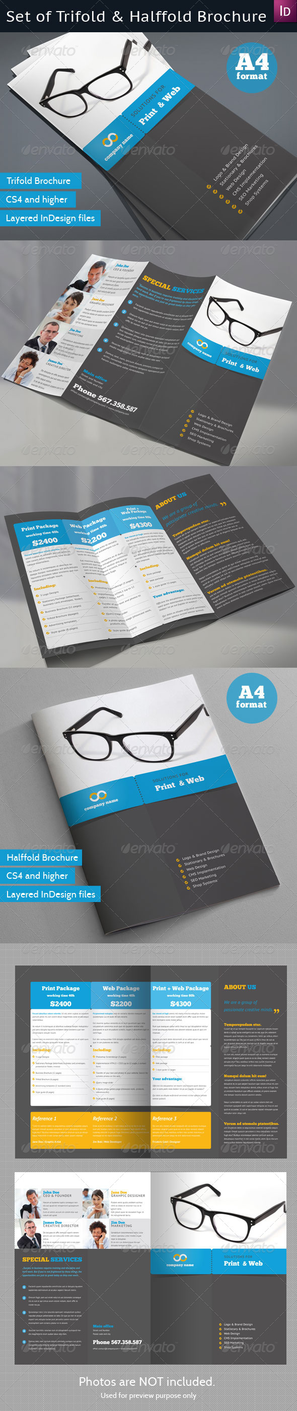 GraphicRiver Set of Trifold and Halffold Brochures 4153499