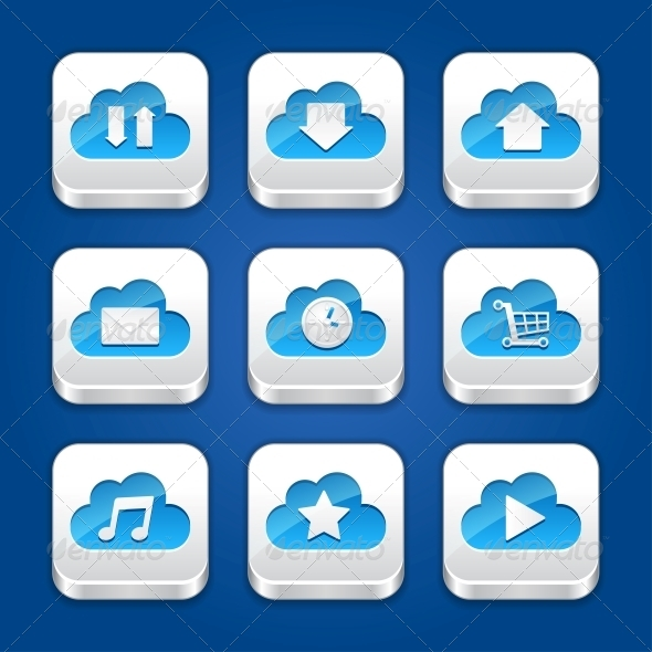 GraphicRiver Collection of Icons with Clouds 4325640