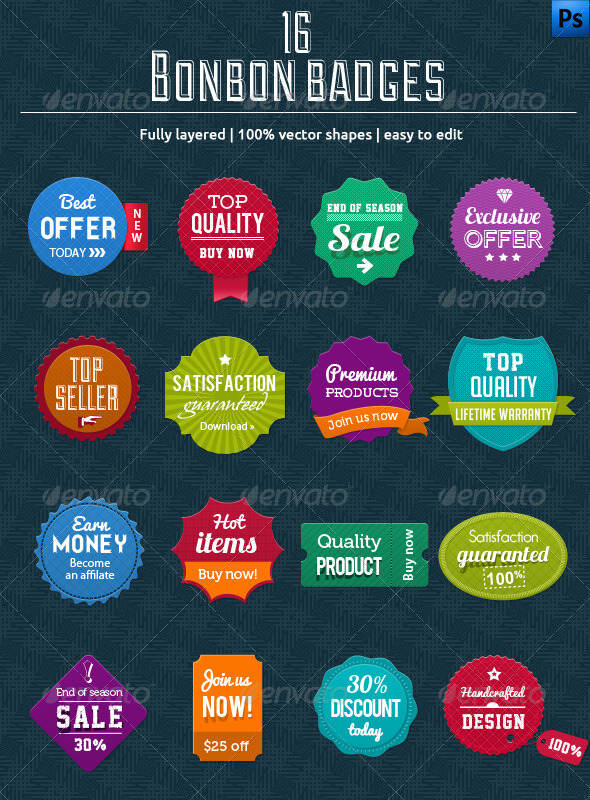 16 Bonbon Badges - Badges & Stickers Web Elements