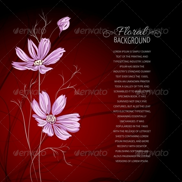 GraphicRiver Blue Flower over Brown Background 4325647