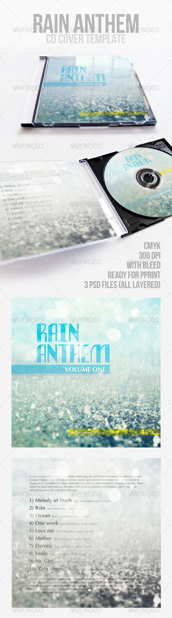 Rain Anthem CD Cover Template - CD & DVD artwork Print Templates