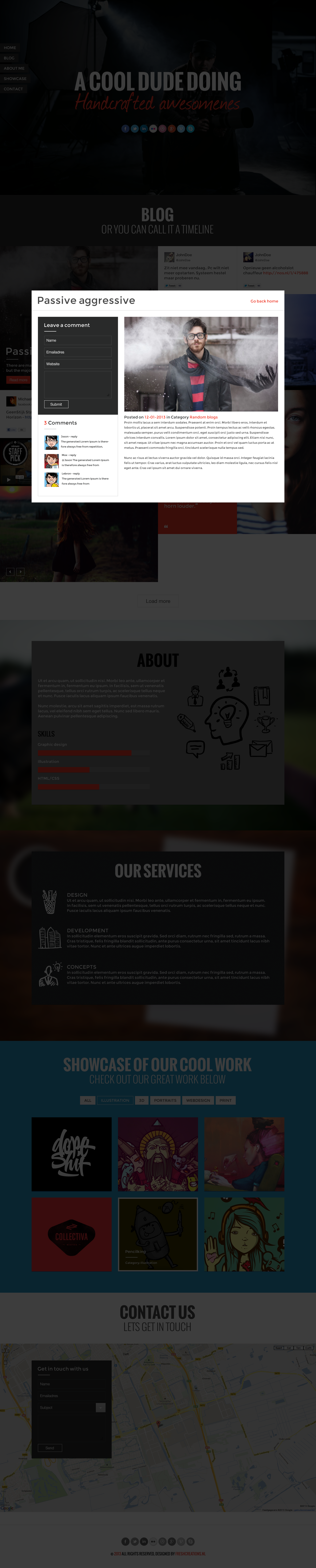 Awesome PSD Template - Onepage Portfolio & Blog