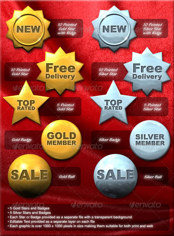 GraphicRiver Gold and Silver Stars and Badges 4325941