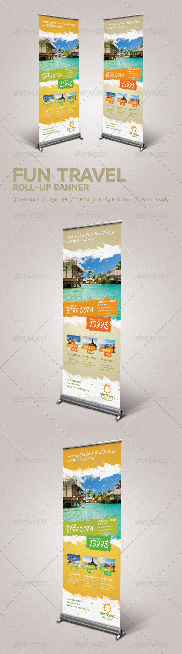 GraphicRiver Fun Travel Roll-Up Banner 4164783