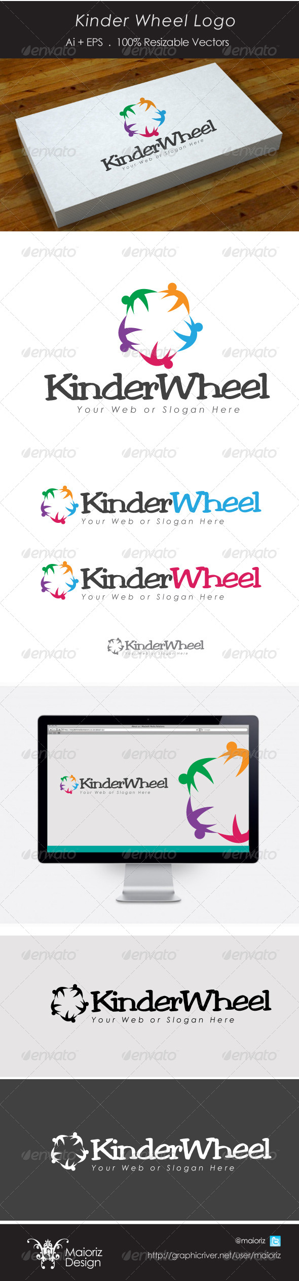 Kinder Wheel Logo - Vector Abstract