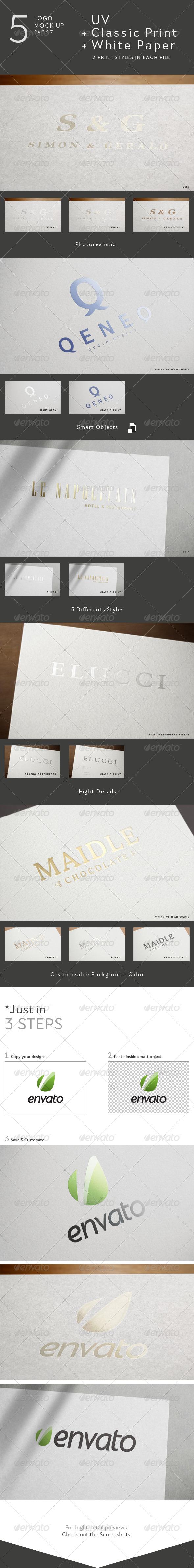 GraphicRiver 5 Logo Mock Up 7- UV & Classic Print 4328901