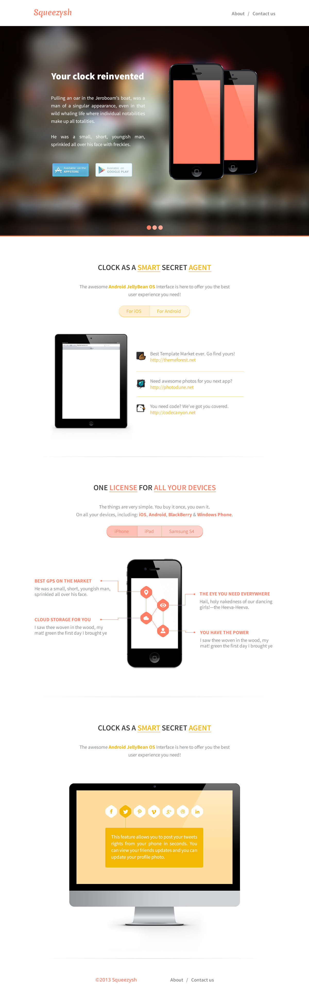 Squeezysh - PSD Landing Page