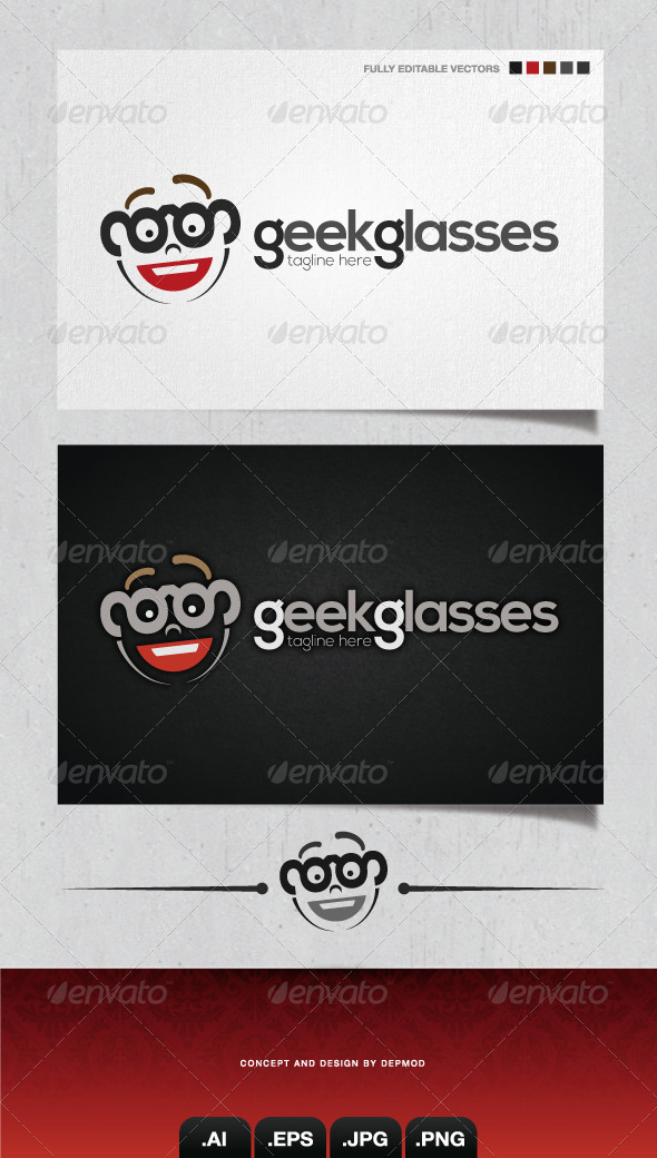 GraphicRiver Geek Glasses Logo 4329401