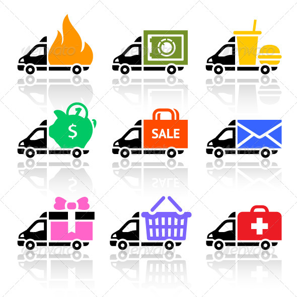 GraphicRiver Delivery Cargo Trucks Colored Icons Set 4329549