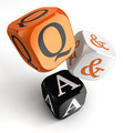 questions and answers orange black dice blocks - PhotoDune Item for Sale