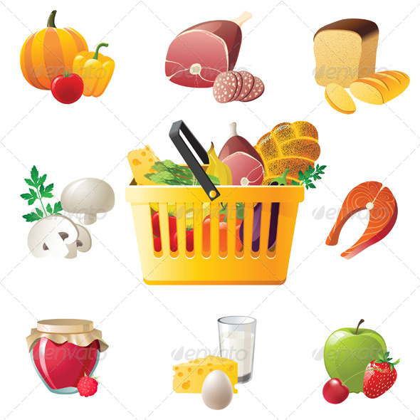 GraphicRiver Shopping Basket and Food Icons 4330854