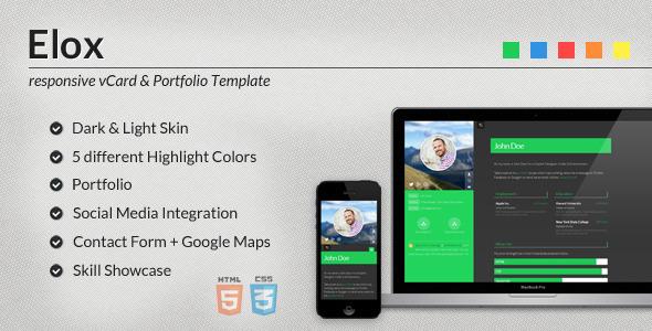 ThemeForest Elox Responsive vCard & Portfolio Template 4330963
