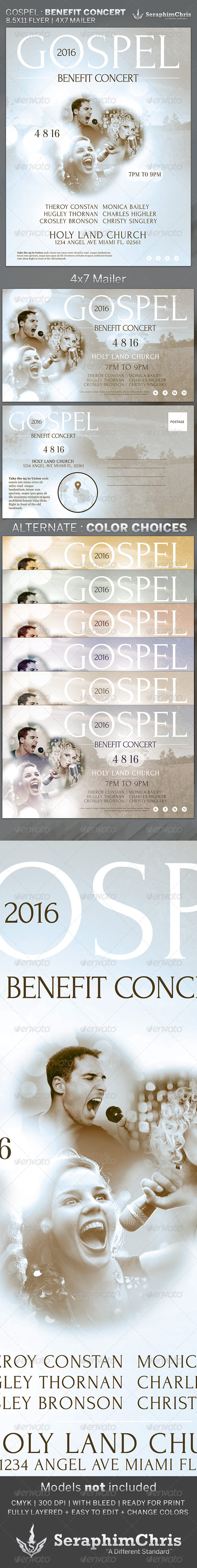 Gospel: Benefit Concert Church Flyer Template - Church Flyers