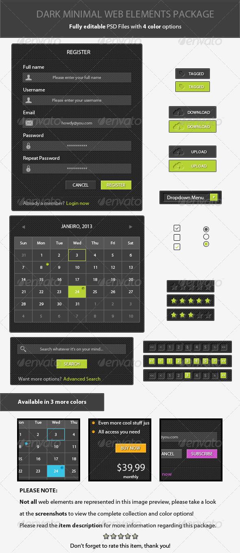 GraphicRiver Dark Minimal Web Elements Package 3793046