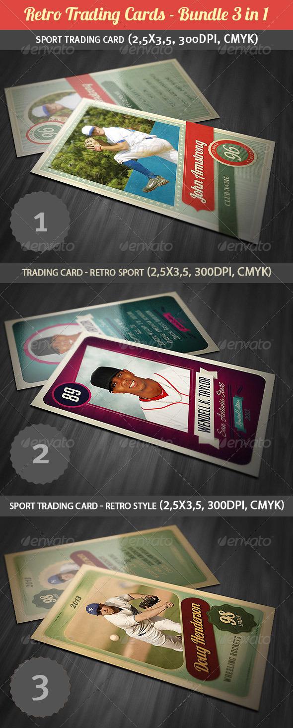 GraphicRiver Retro Trading Cards Bundle 4331436