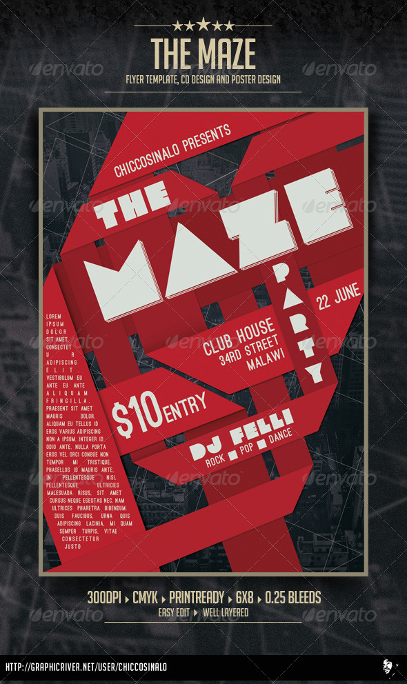 The Maze Flyer Template - Clubs & Parties Events