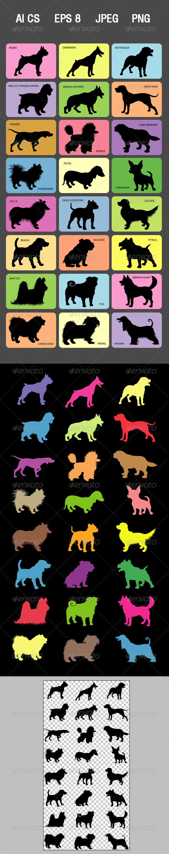 GraphicRiver Dog Silhouette Cards 4332404