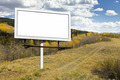 Blank Billboard Sign on Wilderness Path - PhotoDune Item for Sale