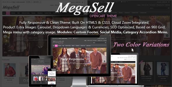 ThemeForest Megasell Elegant & Responsive Opencart Theme 4313308