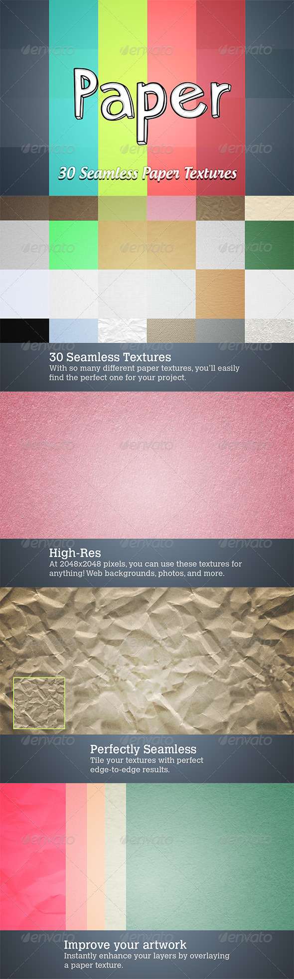 GraphicRiver 30 Seamless Paper Textures 4333429