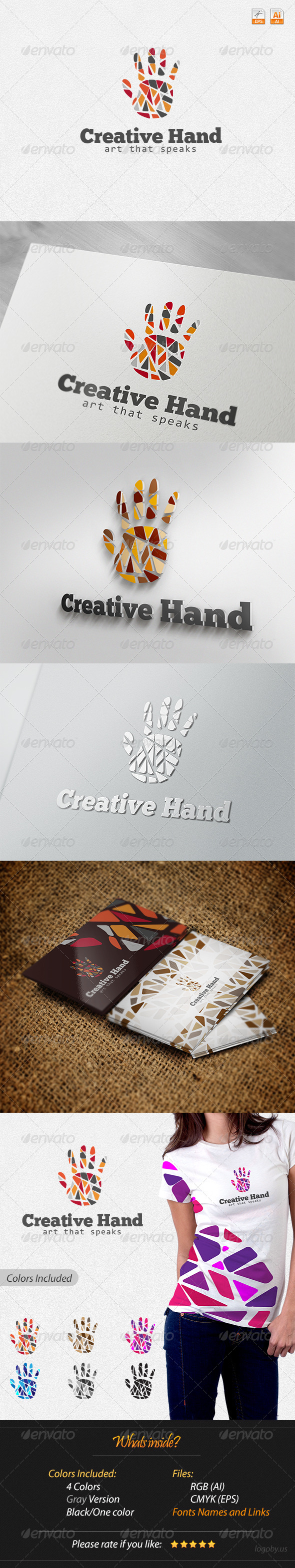 Creative Hand - Art that Speaks Logo - Humans Logo Templates