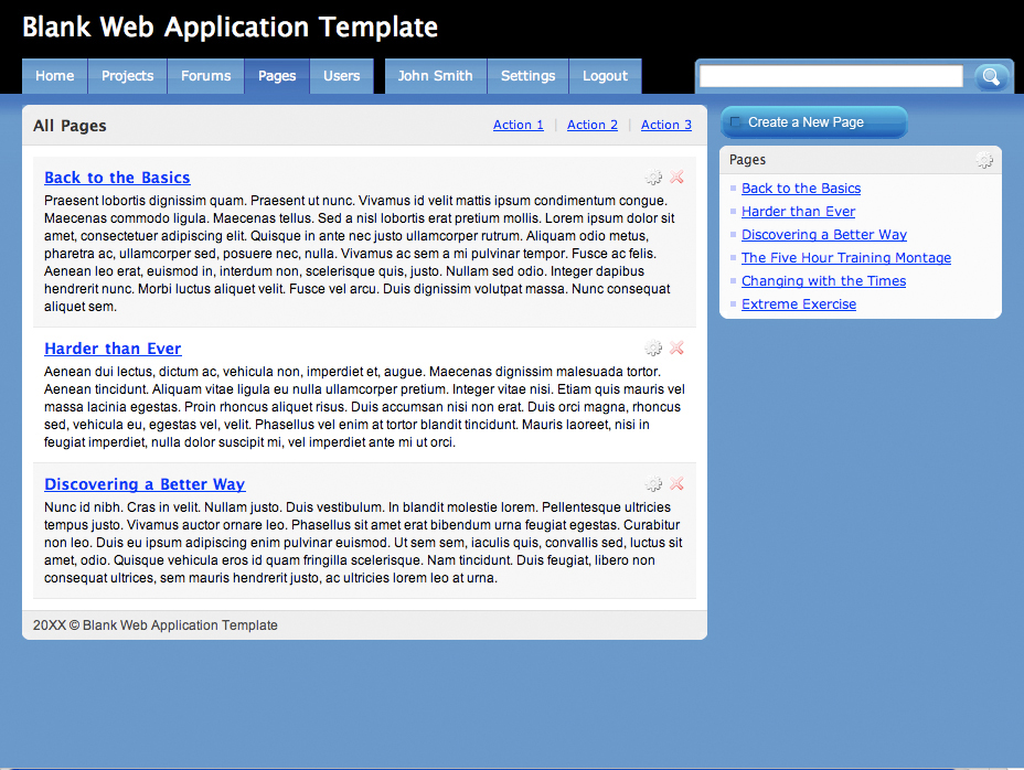 Blank Web Application Template  - A starting template for web-developers who want to establish the format of their web-application without spending the time to setup the basic template. The format of this web template is one of the most commonly used in web-apps today.
