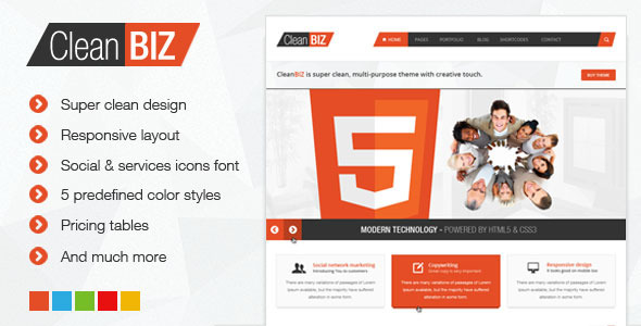 ThemeForest CleanBIZ Multipurpose HTML5 Template 4331221