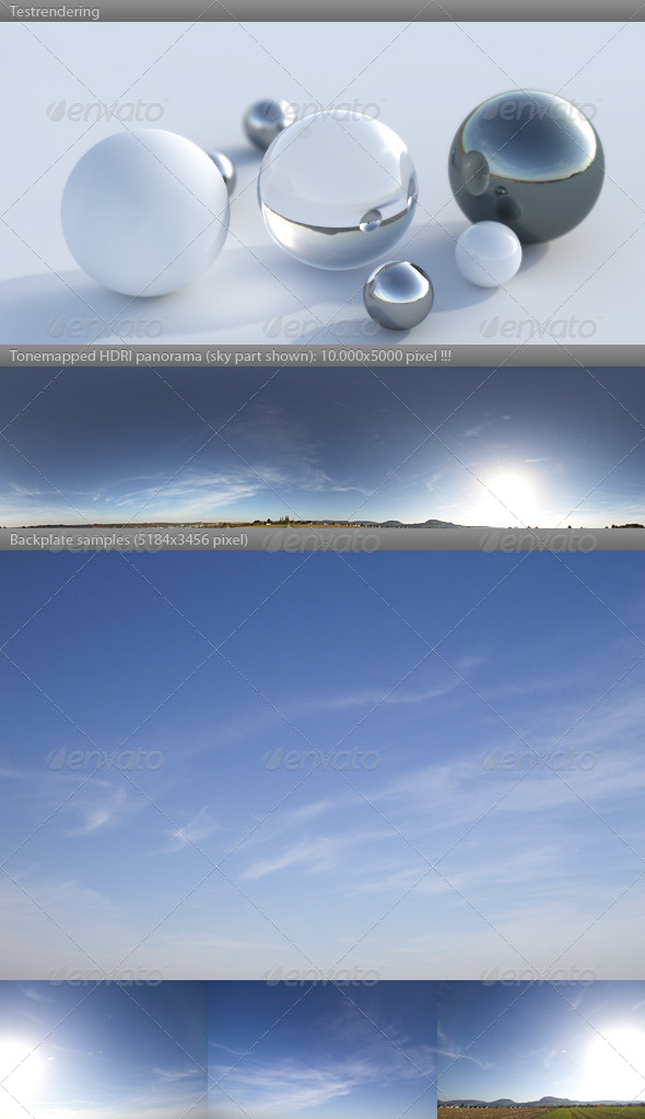 3DOcean HDRI spherical sky panorama 1532- blue sun sky 4337395