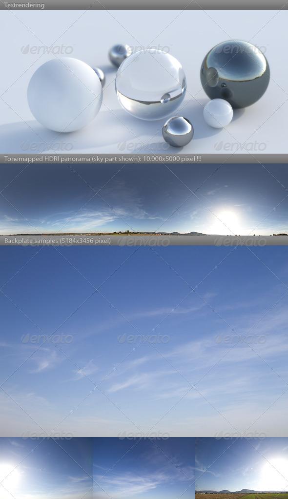 3DOcean HDRI spherical sky panorama 1532- blue sun sky 4337395