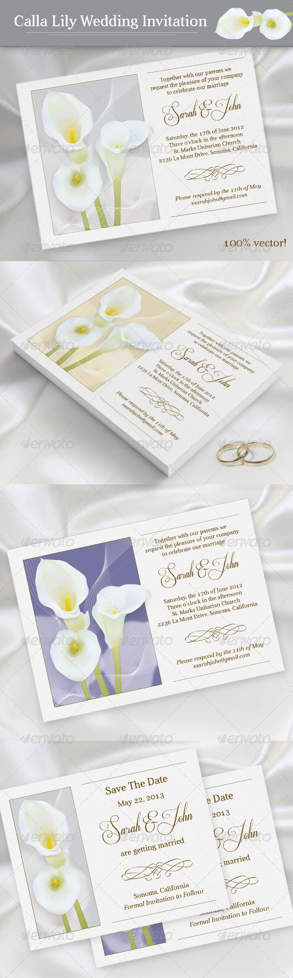 GraphicRiver Calla Lily Wedding Invitation 4337483