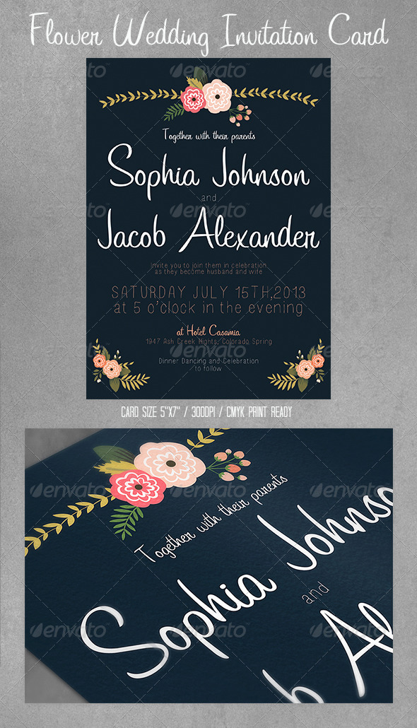 GraphicRiver Flowers Wedding Invitation Card Postcard 4337976