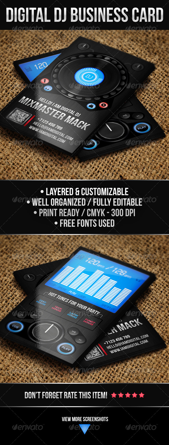 Digital DJ Business Card - Industry Specific Business Cards
